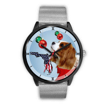 Cavalier King Charles Spaniel On Christmas Print Wrist Watch-Free Shipping-FL State