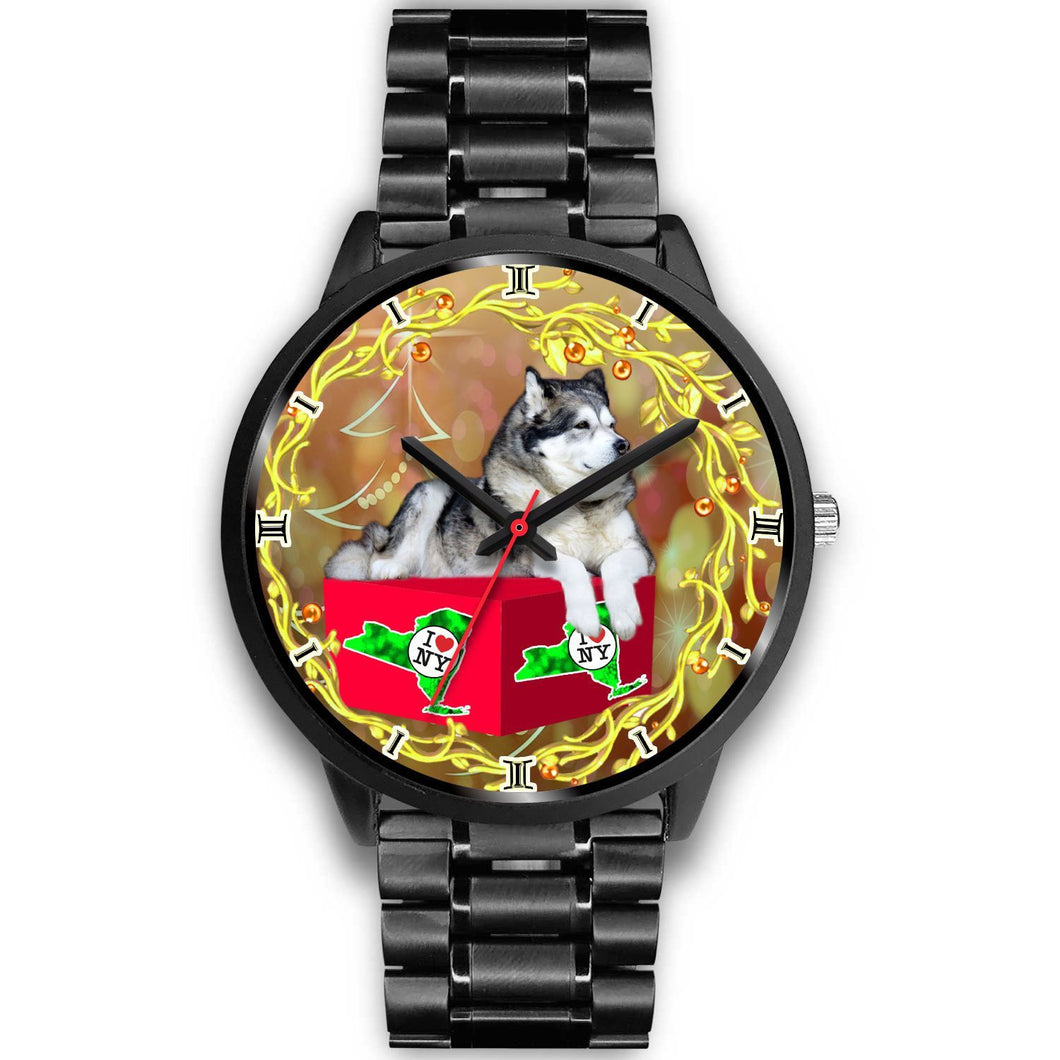 Alaskan Malamute Dog New York Christmas Special Wrist Watch-Free Shipping