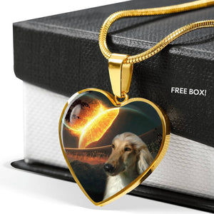 Amazing Afghan Hound Dog Print Heart Pendant Luxury Necklace-Free Shipping