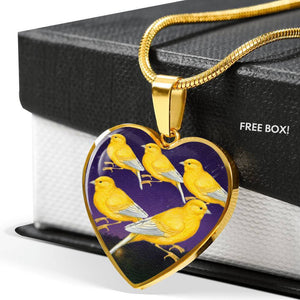 Domestic Canary Bird Print Heart Charm Necklaces-Free Shipping