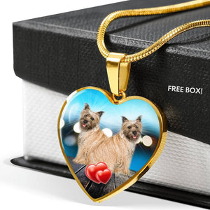 Cairn Terrier Print Heart Pendant Luxury Necklace-Free Shipping