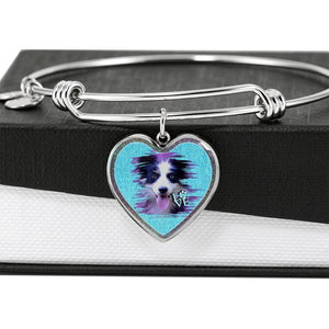 Border Collie Dog Art Print Heart Pendant Bangle-Free Shipping