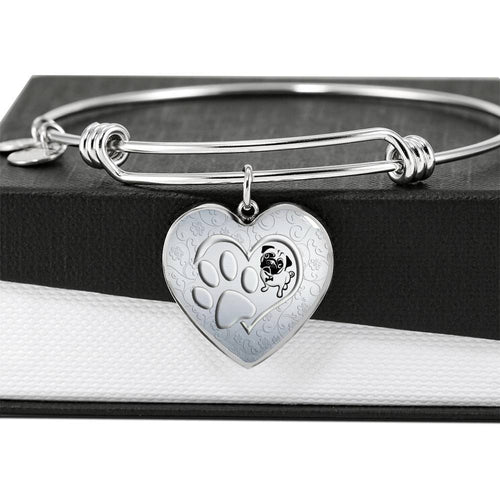 Pug Paws Print Heart Pendant Luxury Bangle-Free Shipping
