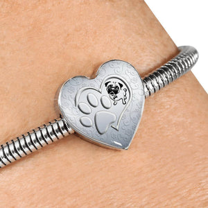 Pug Paws Print Heart Charm Steel Bracelet-Free Shipping