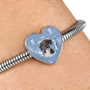 Spanish Water Dog Print Heart Charm Steel Bracelet-Free Shipping