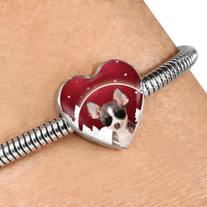 Chihuahua Print Heart Charm Steel Bracelet-Free Shipping