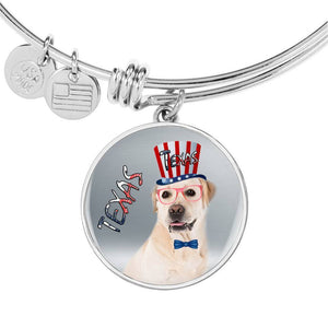 Labrador Retriever Texas Print Circle Pendant Luxury Bangle-Free Shipping