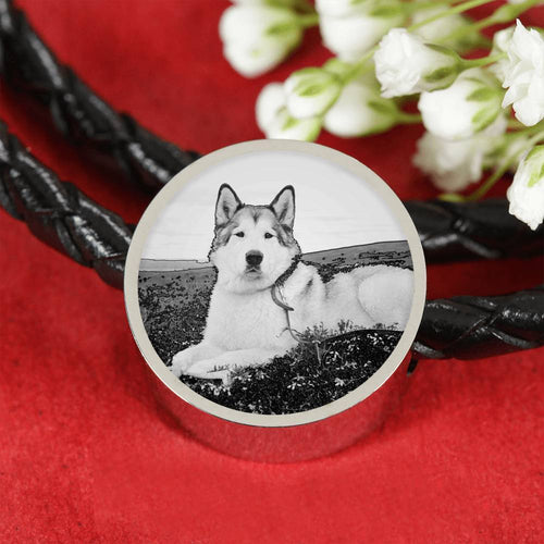 Alaskan Malamute Print Circle Leather Charm Bracelet -Free Shipping