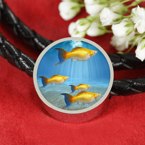 Common Molly Fish Family Print Circle Charm Leather Bracelet-Free Shipping