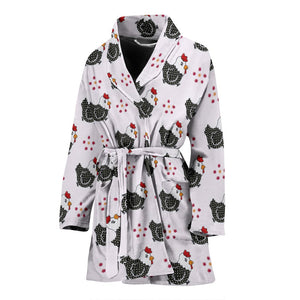 Cute Birds With Paws Print Women's Bath Robe-Free Shipping