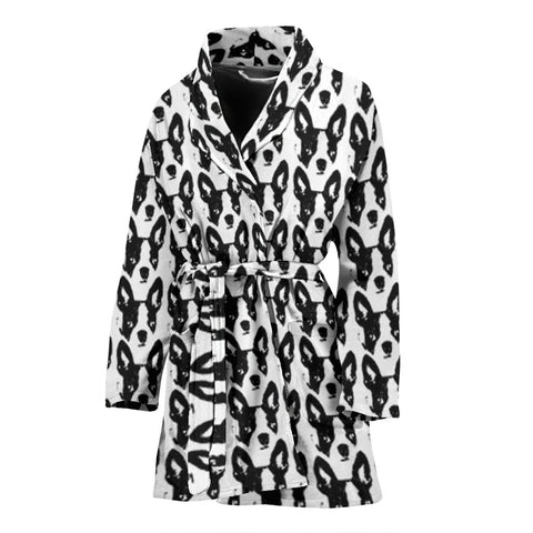 Boston Terrier Dog Pattern Print Women's Bath Robe-Free Shipping