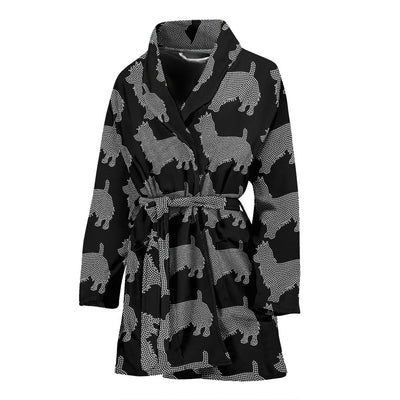 Australian Terrier Dog Black Pattern Print Women's Bath Robe-Free Shipping