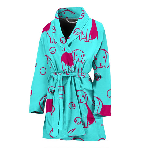 Beagle dog Print Women's Bath Robe-Free Shipping