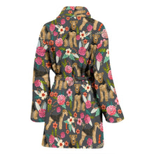 Airedale Terrier Dog Floral Print Women's Bath Robe-Free Shipping