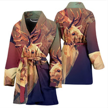 Amazing Deer Vector Art Print Women's Bath Robe-Free Shipping