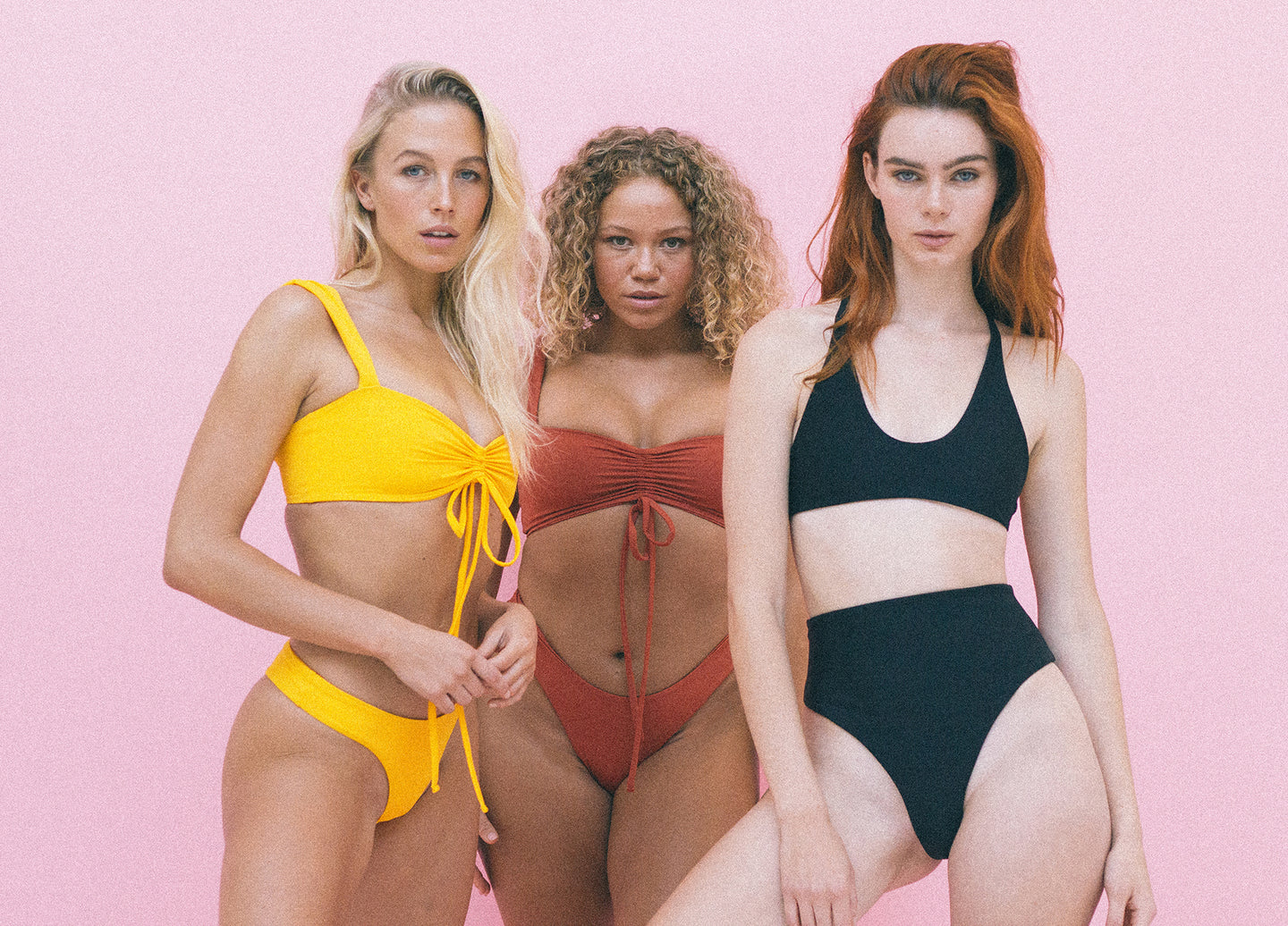 GYKO mix and match sustainable swimwear, bikini tops and bottoms, in mixed colours