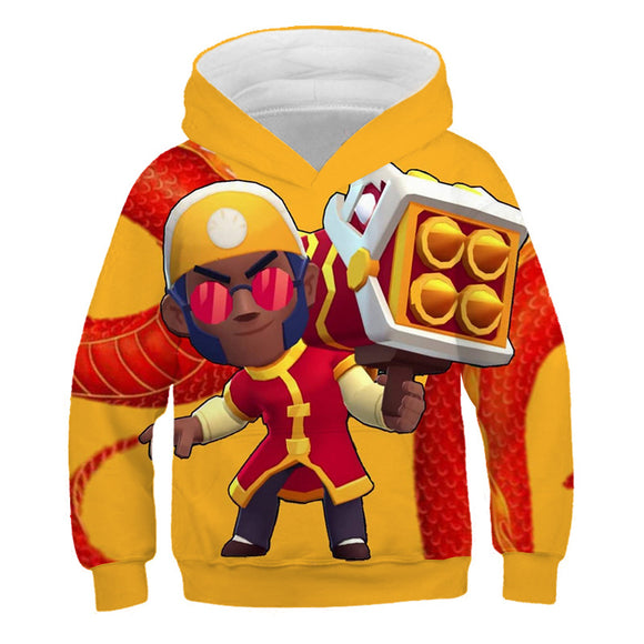 Brawl Stars Lion Dance Brock Sweat à Capuche pour Enfant Sweat-shirt à Capuche Cadeau Noël