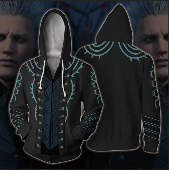 Devil May Cry 5 Sweat-Shirt à Capuche Zippé Sweat à Capuche Zippé Hoodie Adulte Manteau Veste Zippée Sweat-Shirts Pull à Capuche