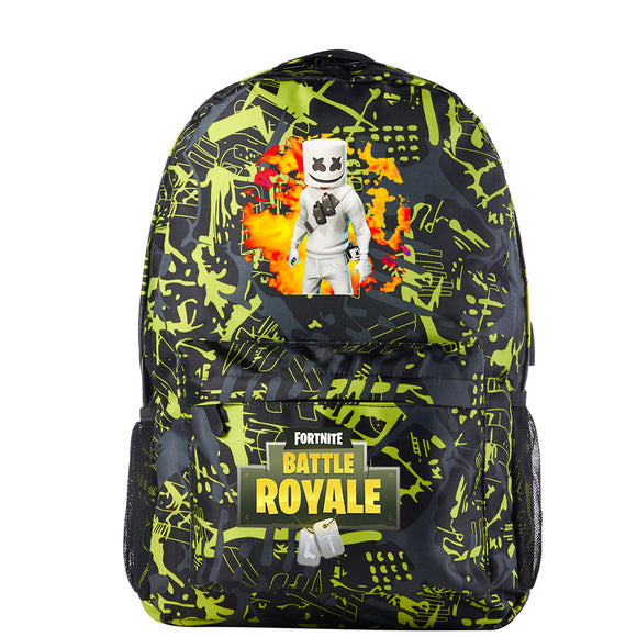 Fortnite Marshmello Battle Royale Sac à Dos Scolaire Sac école Jaune d'or avec Port de Charge USB