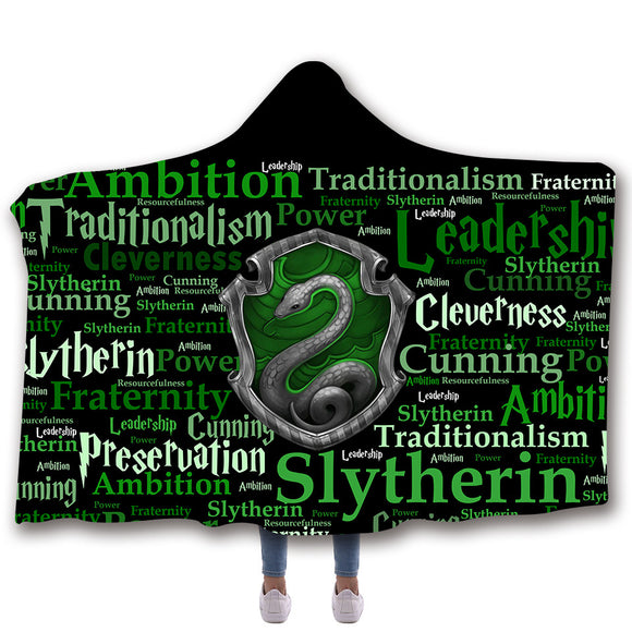 Harry Potter Slytherin Microfibre Couverture à Capuchon Couverture à Capuche