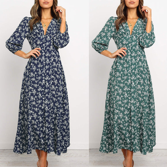 Robe Longue Femme Robe Longue Manche Longue Robe Folral Robe Automne