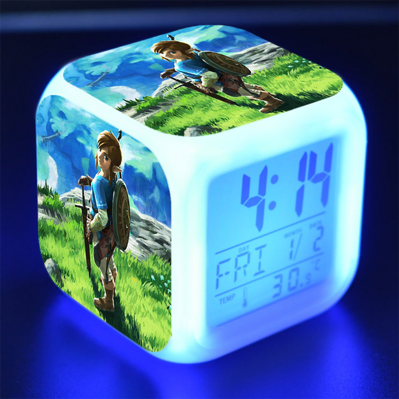 The Legend of Zelda Breath of the Wild Réveil LED Digital Réveil Cadeau d'Anniversaire Enfant