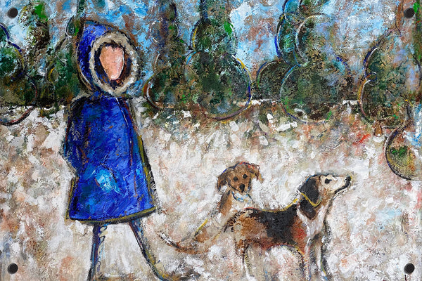 Woman and two dogs Outdoor Art Print
