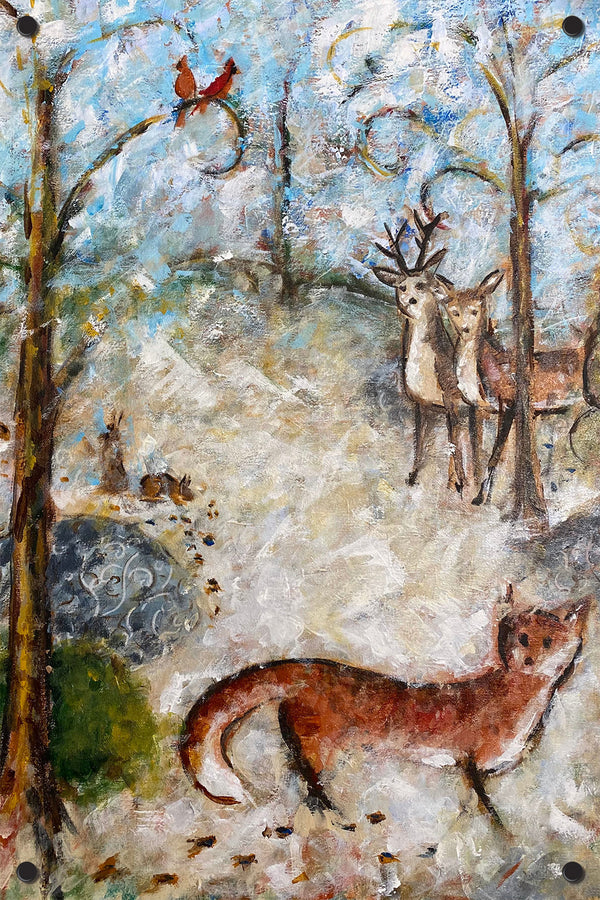 Fox and Deer Outdoor Art Print