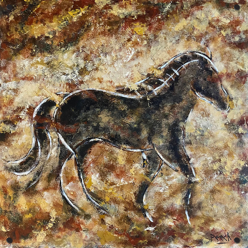 Black Horse Outdoor Art Print