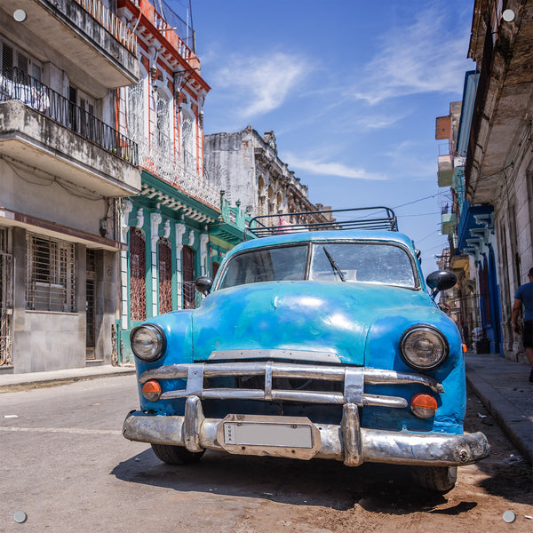 Cuban Wheels Blue Outdoor Art Print