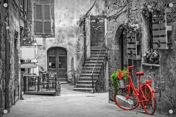 Red Bike Outdoor Art Print