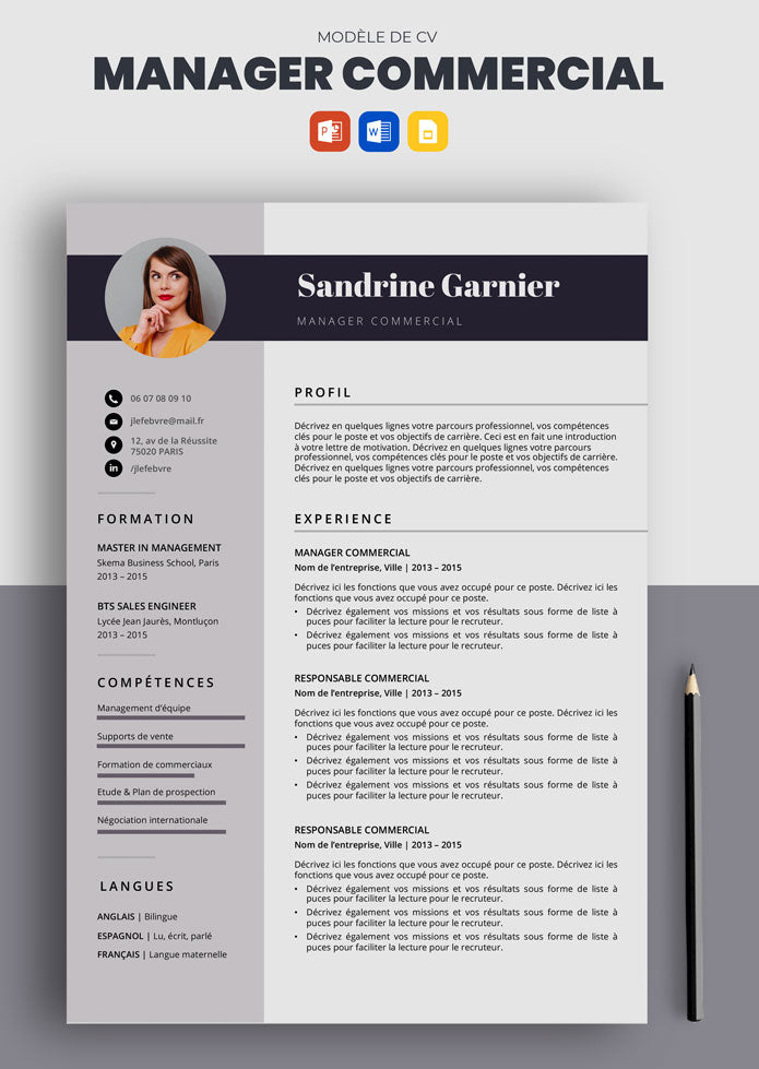 cv manager commercial exemple