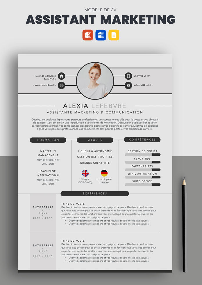 exemple cv assistant marketing