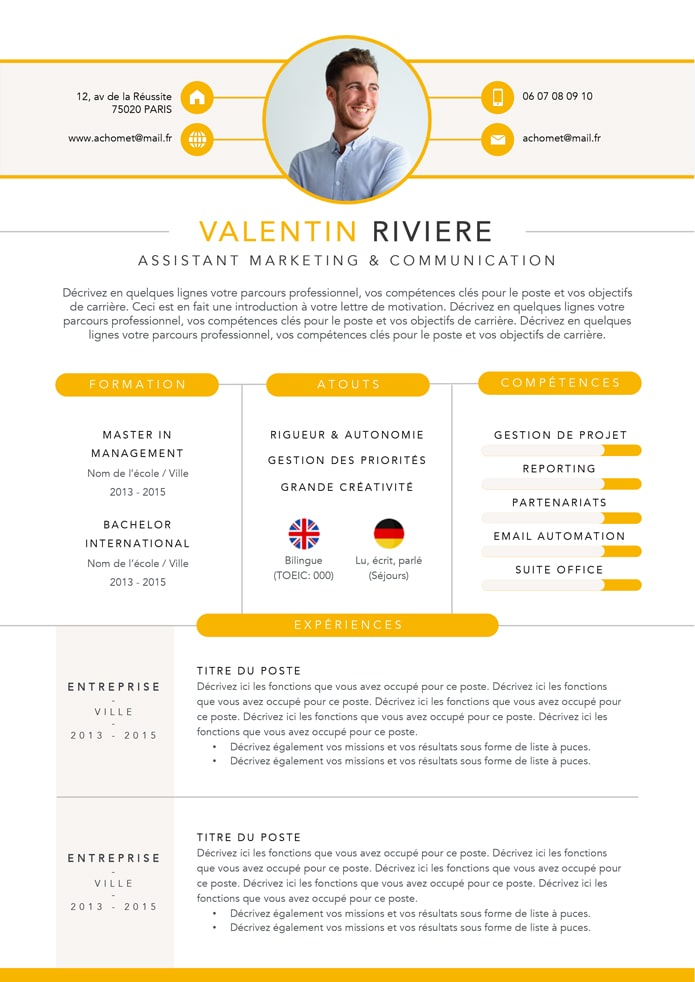 modèle cv assistant marketing
