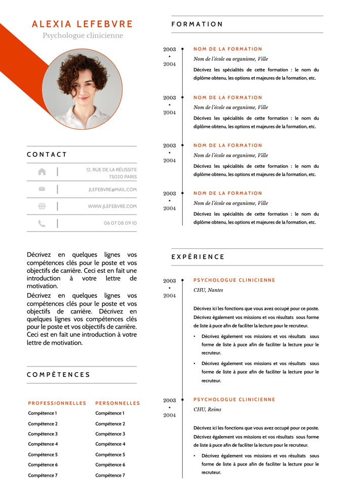 modèle cv psychologue clinicienne