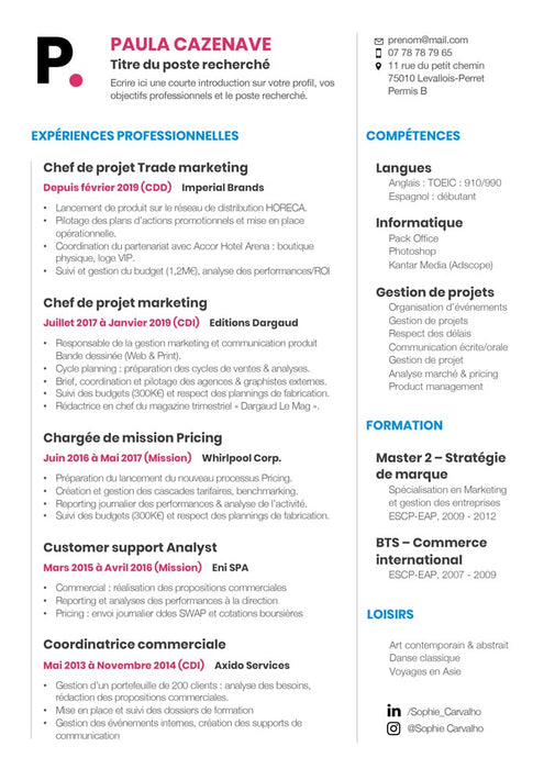 Modèle de CV simple FACILE - CV Market