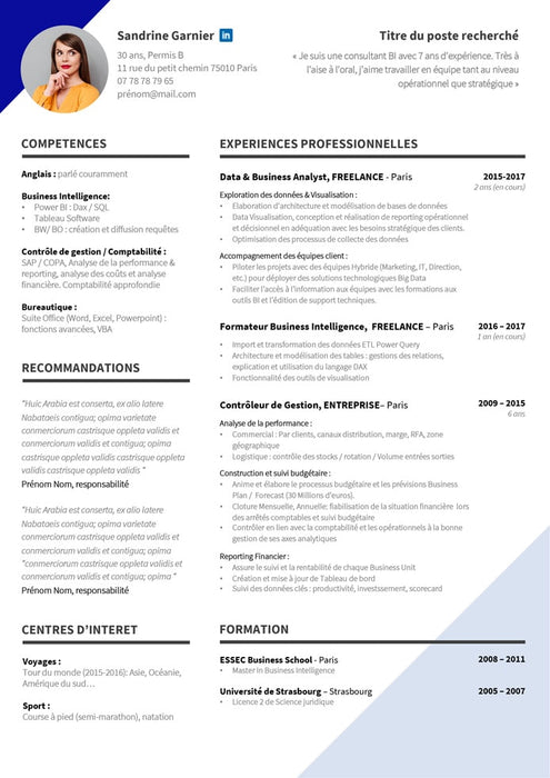 Modèle de cv simple minimaliste