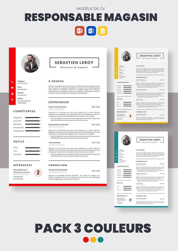 pack cv responsable magasin