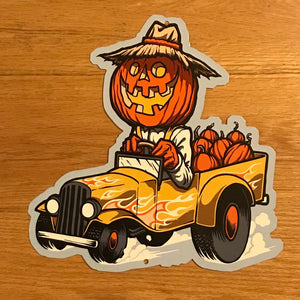 Pumpkin Truckin' Metal Sign / Wall Art