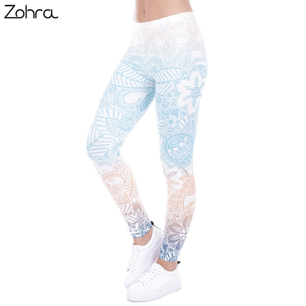 b23a8fee2e89f5 Zohra Brand Hot Sales Leggings Mandala Mint Print Fitness legging High Elasticity  Leggins Legins Trouser Pants