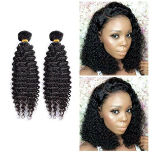 16 Inches Deep Curl Human Hair Weave Bundle Color 1B