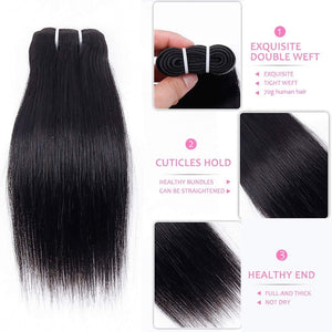 10 Inches Straight Human Hair Weave Bundle Color 1B