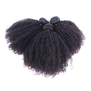 10 Inch Afro Kinky Human Hair Weave Bundle Color 1B