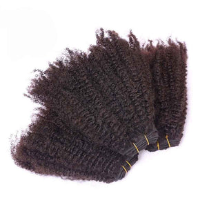 6 Inch Afro Kinky Human Hair Weave Bundle Color 1B