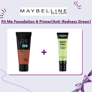 Maybelline Fit Me Foundation & Primer (Anti-Redness Green)