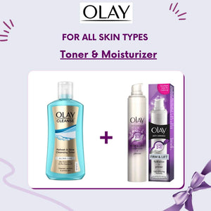Olay Cleanse Refresh & Glow Cleansing Toner 200 ml & Olay Anti-Wrinkle Firm and Lift 2-in-1 Moisturizer and Anti-Ageing Primer, 50ml Bundle