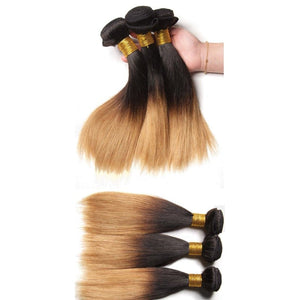 12 Inches Straight Human Hair Weave Bundle Color 1B/27