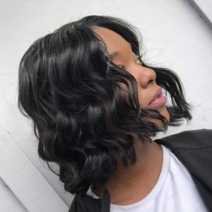 Loose Wave Blunt Cut 8 inch Lace Front Human Hair Wig