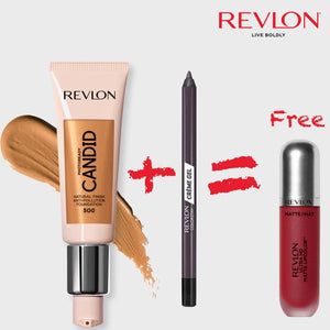 Revlon PhotoReady Candid Foundation + Colorstay Cream Gel Liner +Revlon Ultra HD Matte Lipcolor (Passion)