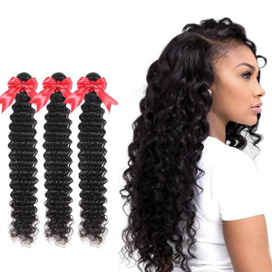 20 Inches Deep Curl Human Hair Weave Bundle Color 1B